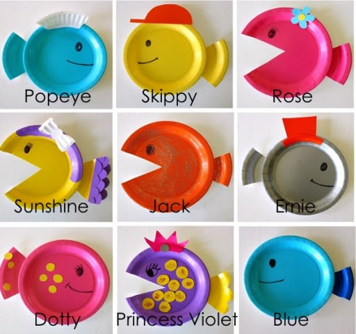How to make DIY paper plate fish craft step by step tutorial instructions 2