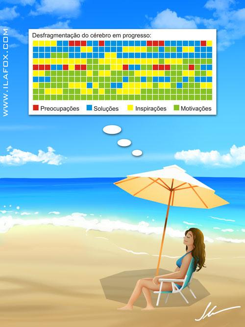 desfragmentando cérebro na praia ilustração by ila fox