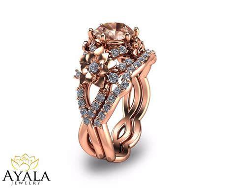14K Rose Gold Morganite Engagement Rings Set Unique