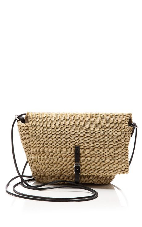 Mini Flap-Over Straw Satchel by Muun