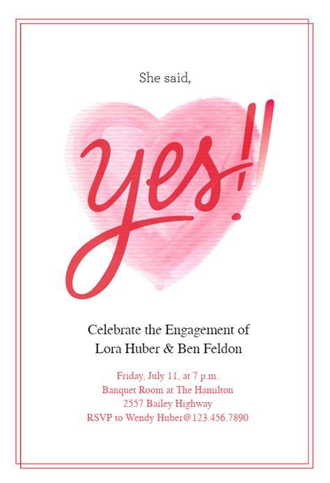 She Said Yes   Engagement Party Invitation Template (Free