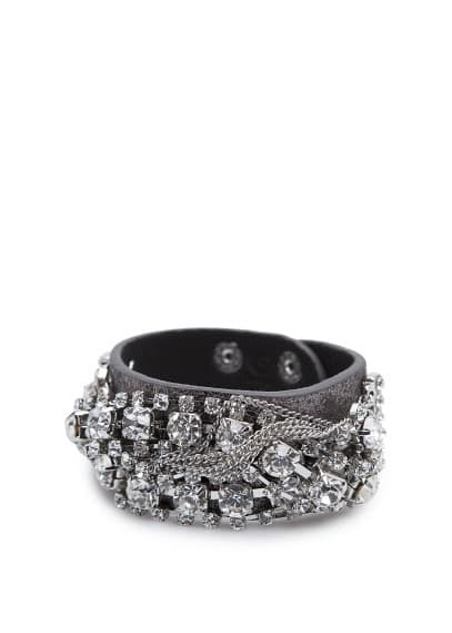 Crystal embellished leather bracelet