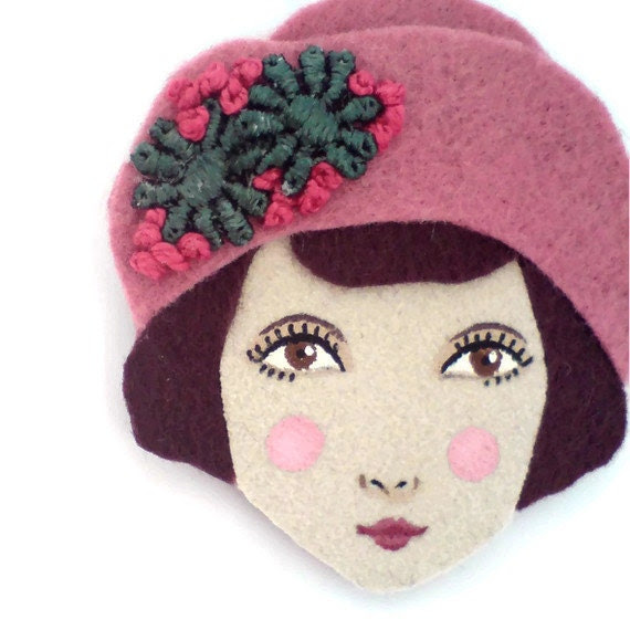 Felt brooch - Louise, Jazz age girl, rose, burgundy, cypress, woman face
