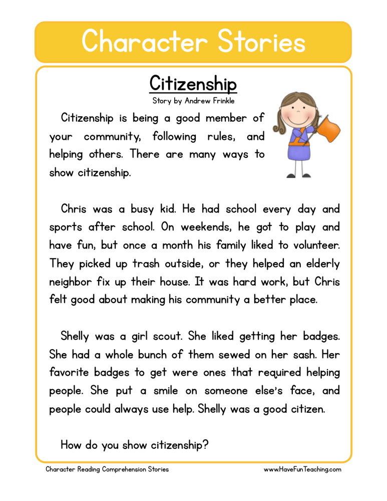 free character education reading comprehension citizenship
