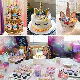 Unicorn Cake Topper with Eyelashes and Unicorn Cupcake