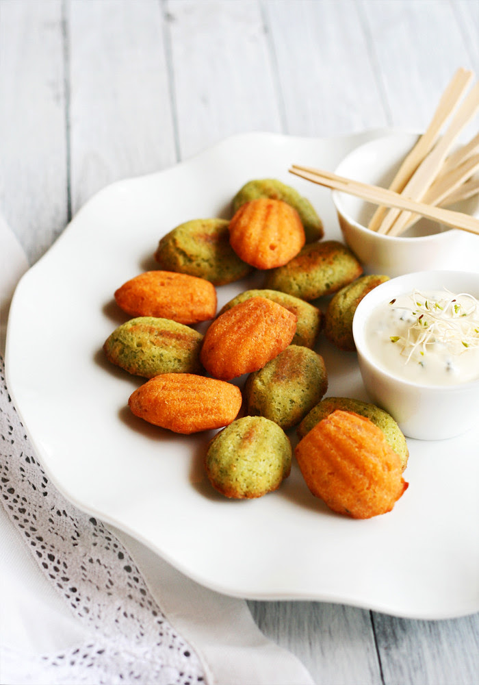 mini madeleines de pesto verde y rosso