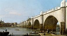 'Westminster Bridge from the Southeast Abutment' by Canaletto (1747)