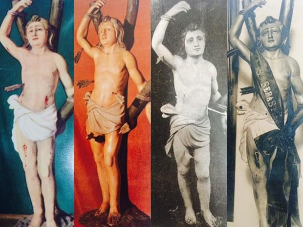 Fotografias ajudaram a identificar algumas das alterações pelas quais a imagem passou ao longo do tempo. (Foto: Divulgação/ Frades Capuchinhos)