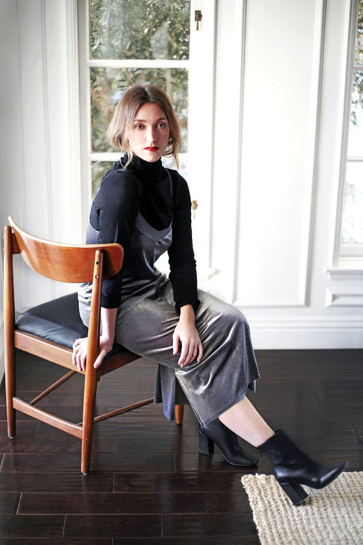 New Years Eve Outfit Ideas 90s Style Layered Turtleneck Velvet Slip Dress Heeled Ankle Boots Kohls Photographer Erin Pederson Model Katie Wohlers Styling Jenn Camp Le Fashion Blog