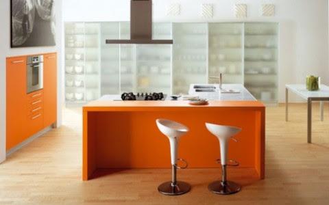 Modernas y sofisticadas cocinas en color naranja-03