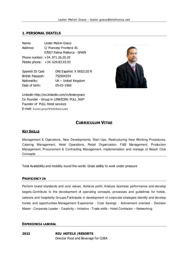 Cv In English Hotel Get A Good Resume