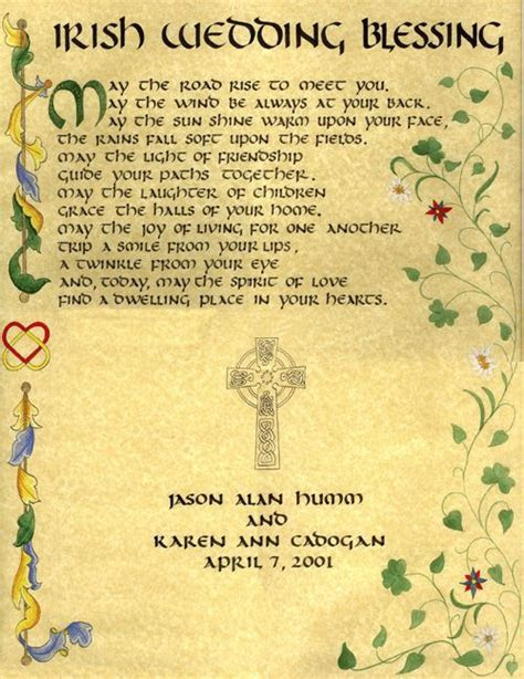 Irish Wedding Blessing. To be read as ceremony begins