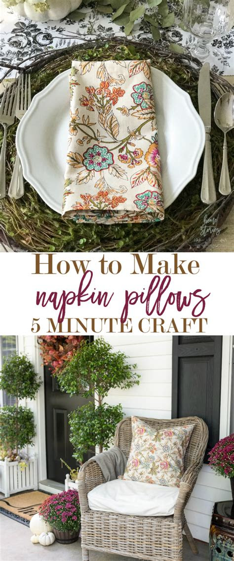minute decorating hack    napkin pillow covers
