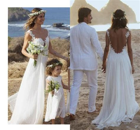 Backless Lace Wedding Dress,Open Back Beach Wedding