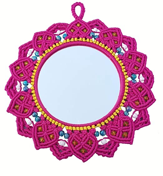 Macrame Mirror (Dark Pink) ( macrame mirror flower )