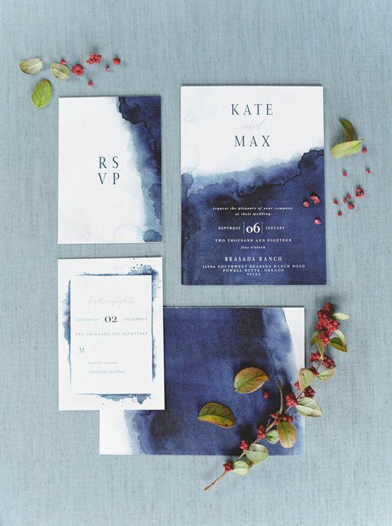 Aquarell indigo gefärbte Hochzeit lädt
