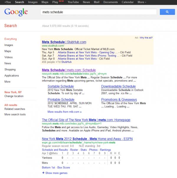 Mets Schedule Google