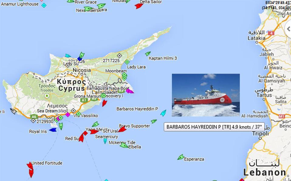 Λεπτό προς λεπτό η πορεία του Barbaros στην κυπριακή ΑΟΖ