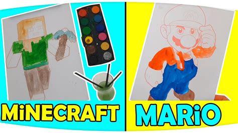 oyun karakteri boyama challenge minecraft ve mario resim