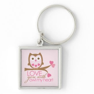 Love you with OWL my heart keychain