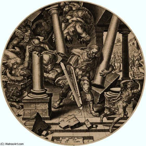 Sansão destruindo o templo dos filisteus por Maerten Van Heemskerck (1498-1574, Netherlands)