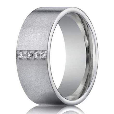 14K white gold wedding ring with 4 diamonds for men   8mm