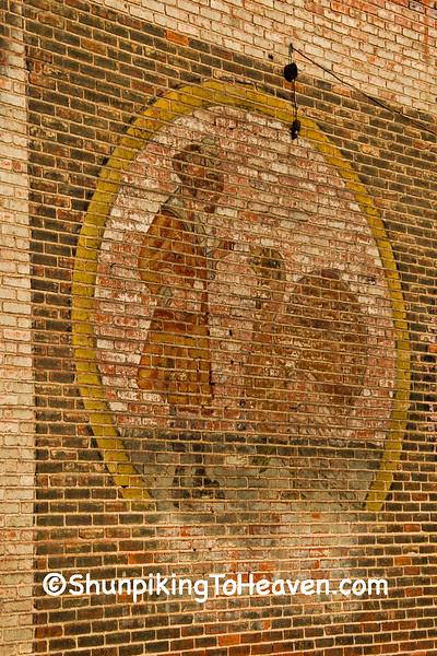 Girl and Turkey on Aristos Flour Ghost Sign, Grundy County, Missouri