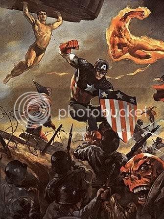Os Invasores em ação contra o Caveira Vermelha na II Guerra