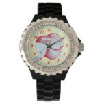 romantic red love heart and white bow wrist watch