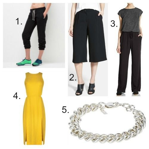 American Giant Sweats - Bailey 44 Gaucho Pants - Splendid Jumpsuit - Sandro Dress - Loren Stewart Bracelet