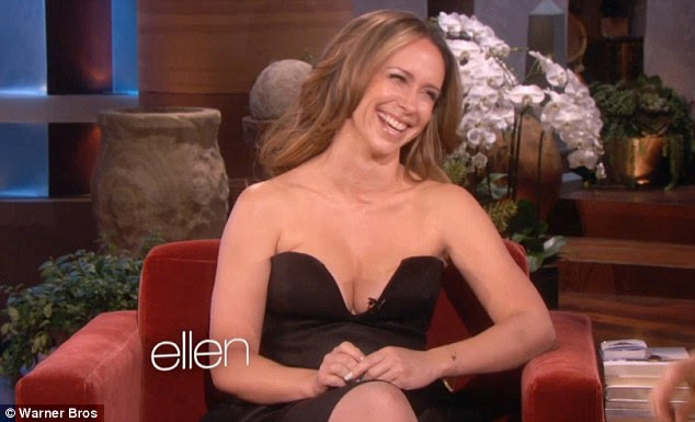 The big reveal: Jennifer Love Hewitt shows off her cleavage in an extremely revealing black dress