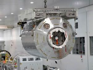 The European science module 'Columbus'.  It is slated to be flown to the International Space Station aboard space shuttle Discovery on flight STS-122.