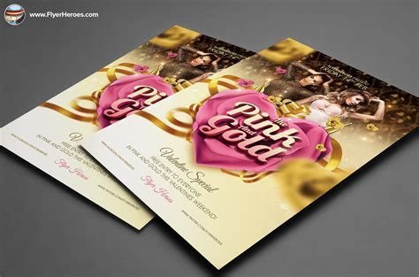 Pink and Gold Valentines PSD ~ Flyer Templates on Creative