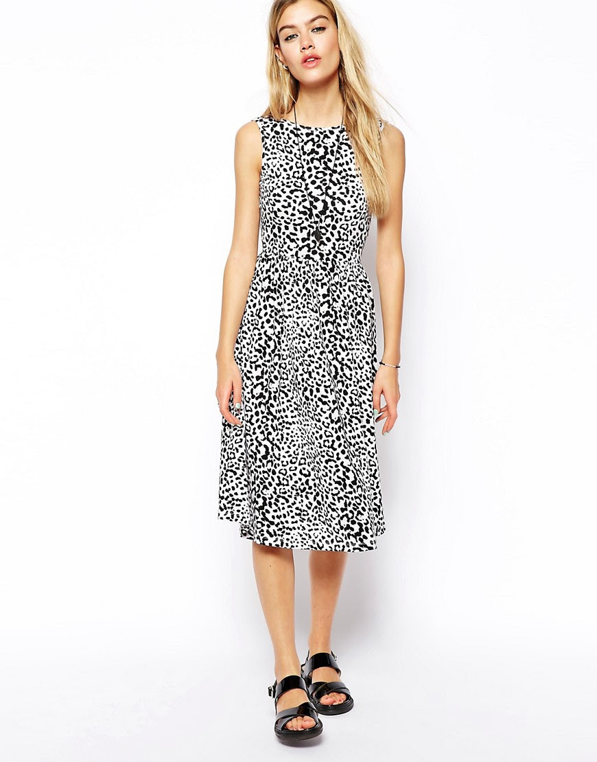 Image 4 of ASOS Midi Dress with Scoop Back in Animal Print