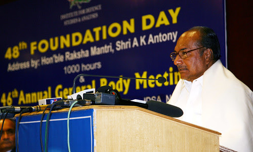 Defence Minister Shri AK Antony delivering the presidential speech at the 48th foundation day of IDSA at New Delhi on Saturday, 10 Nov 2012 by Chindits