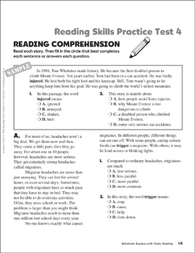 Reading Skills Practice Test  Printable Test