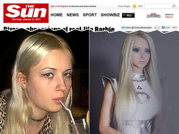 Valeria Lukyanova antes e depois de mudar sua aparência Foto:  / Reprodução