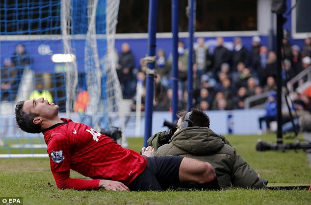 Pain game: Robin van Persie collides with a cameraman