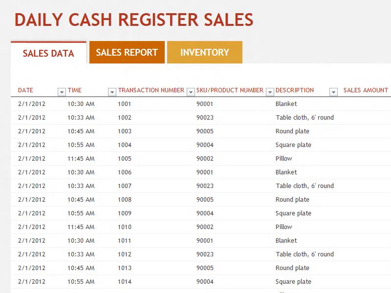 Daily Cash Sales Report   Daily Agenda Calendar