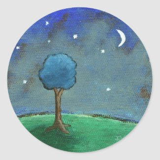 Starry Night, Abstract Landscape Tree Stars Moon Sticker