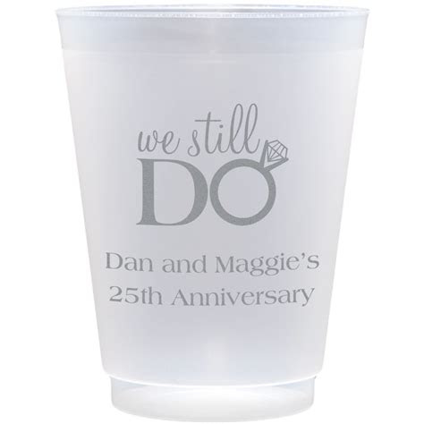 oz frosted plastic anniversary cups personalized set