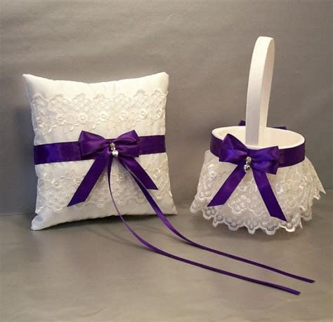 Regal Purple, Wedding Bridal Flower Girl Basket And Ring