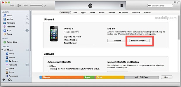Restore iPhone from a backup