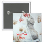 Cute mouse and red berries snow scene wildlife art 2 inch square button