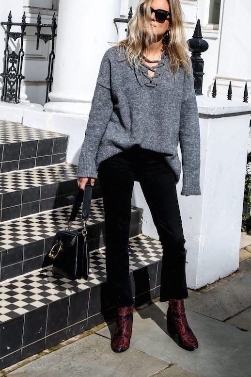 Le Fashion Blog Grey Lace Up Sweater Black Jeans Velvet Boots Black Ring Bag Via Fashion Me Now