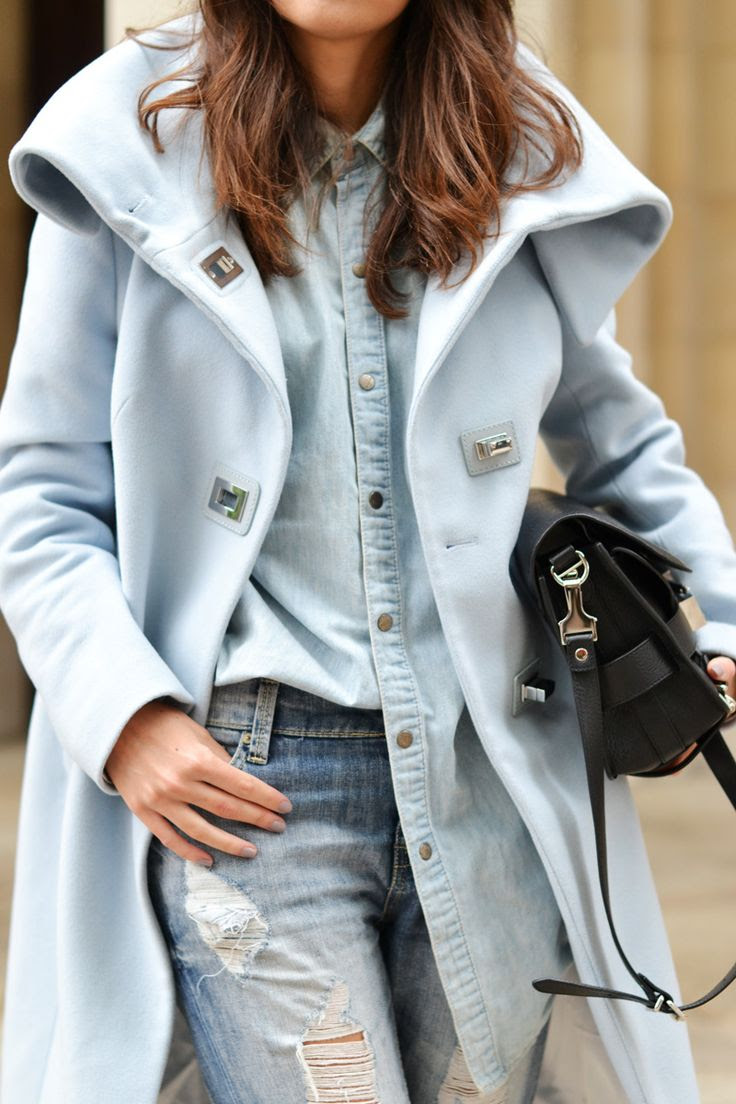 double denim & pastel blue coat