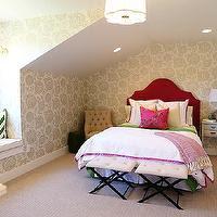 Gray Tufted Headboard - Traditional - girl's room - Brandon Barre ...