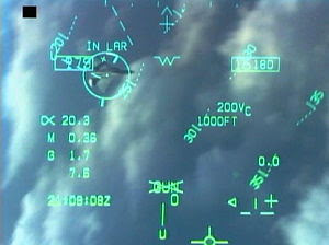F-18 Heads Up Display (HUD) with gun symbology...