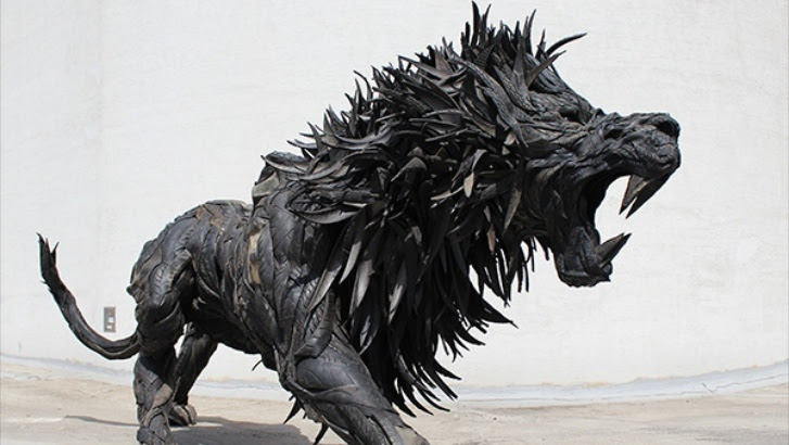 South Korean Artist Turns Scrap Tires Into Frighting Sculptures Video Autoevolution