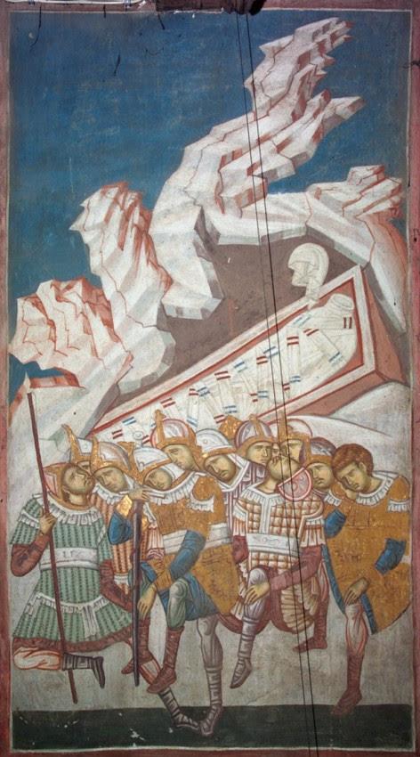 Спящая стража у пустого гроба. Фреска монастыря Высокие Дечаны, Сербия. XIV в.